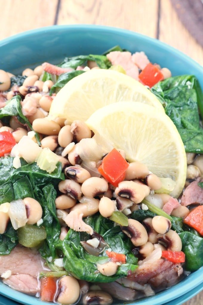 Black Eyed Peas with ham and greens is a Southern staple. With the variations included in the recipe, this dish can be made in as little as 30 minutes.
