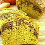 Marbled Pumpkin Pound Cake is lightened up for fewer fat and calories making me feel a little less guilty about my indulgence.