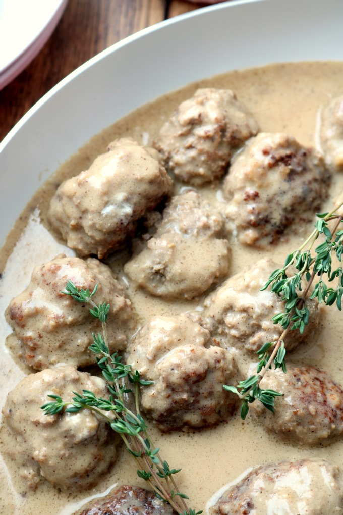 Noregian Kjøttkaker Meatballs with fresh springs of thyme.