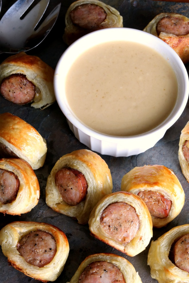 A serving tray of Andouille Sausage Bites.