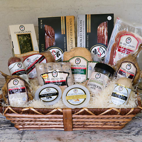 A stock photo basket of D'Artagnan products.