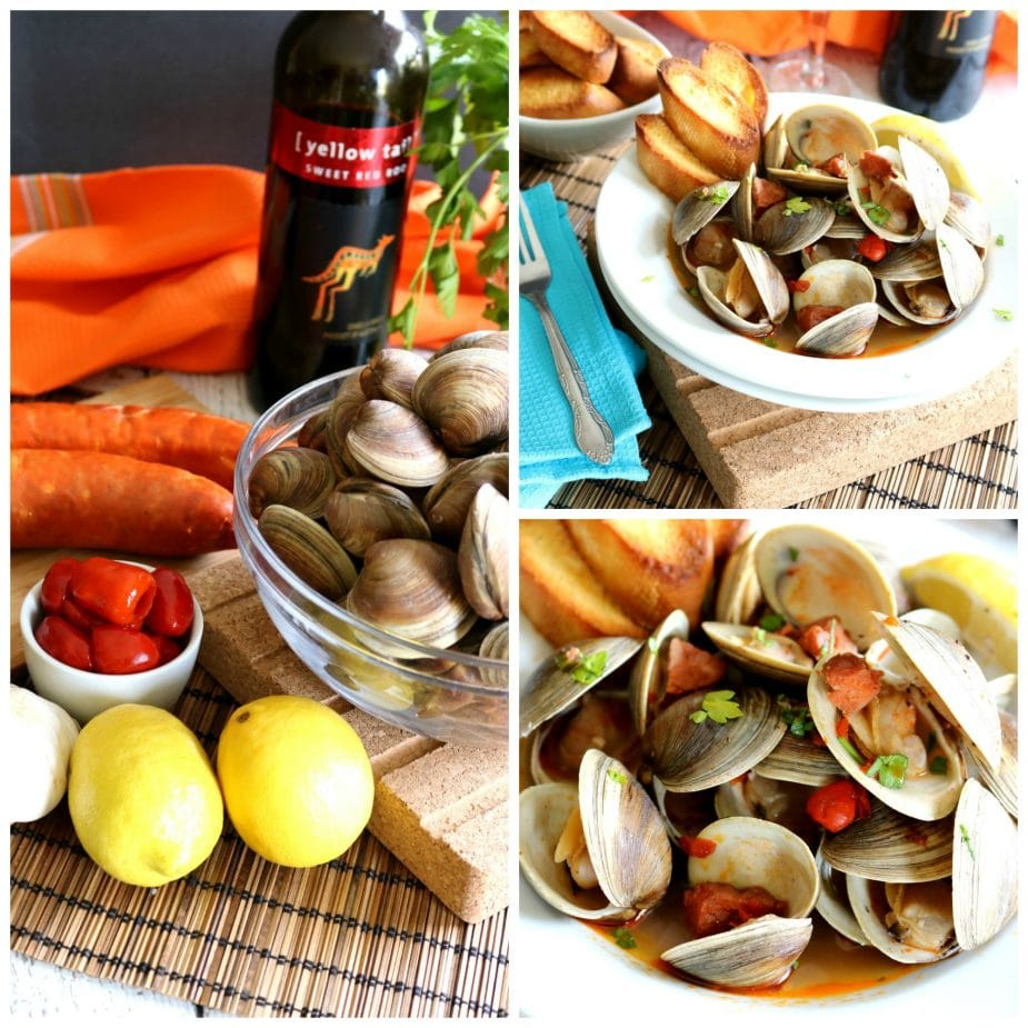 Portuguese Clams with Chorizo Sausage only takes about 15 to 20-minutes to prepare yet produces such a flavorful broth that it's actually amazing to get that depth of flavor in such a short amount of time.