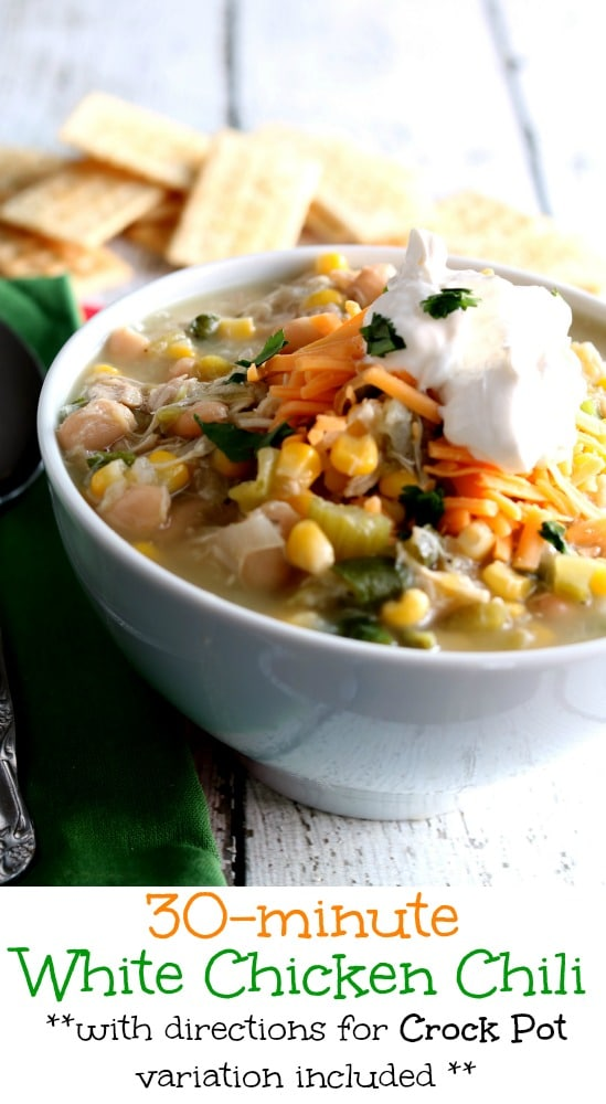 This hearty White Chicken Chili has Southwest flavors and you can prepare it from mild to spicy and anywhere in between just by varying the peppers used.