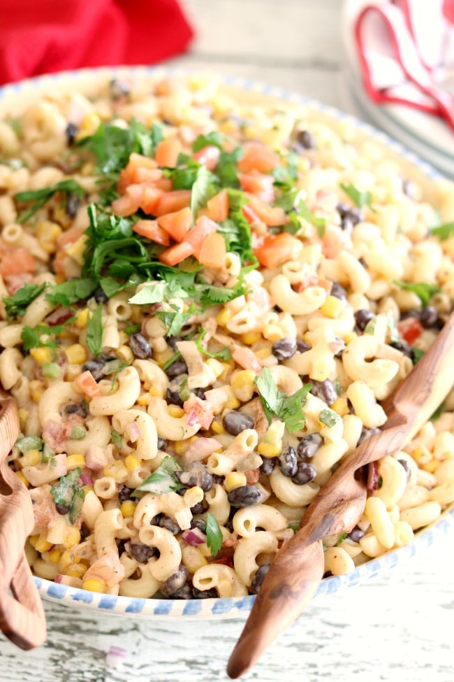 Mexican Macaroni Salad mixed together in a large serving bowl.