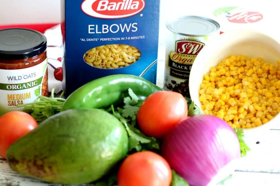 Mexican Macaroni Salad made with Barilla Pasta takes just under 20 minutes to prepare and is perfect for picnics, potlucks and other social gatherings.