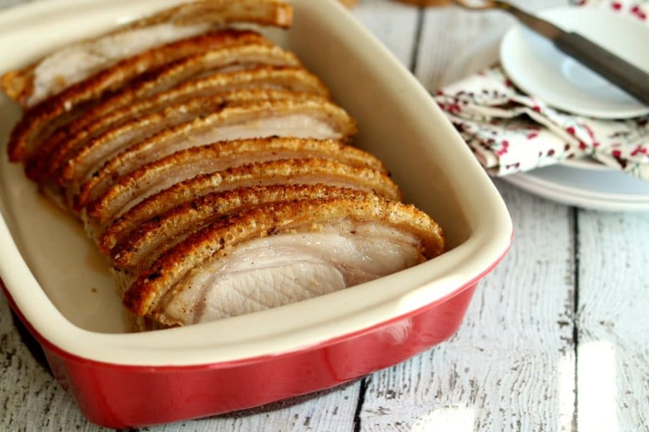 This traditional Irish style Roasted Pork with Crackling is well worth the extra effort to acquire the specialty cut from your local butcher.