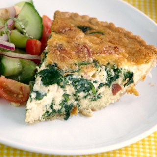 Spinach and Bacon Quiche close up 680px