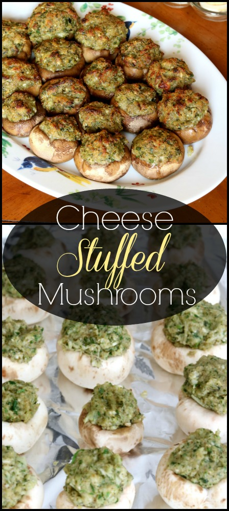 a pinnable image of Cheese Stuffed Mushrooms