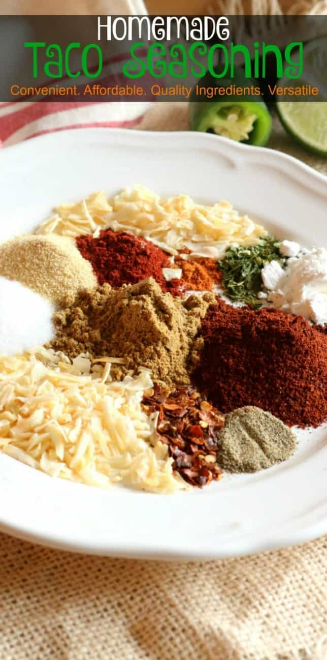 A pinnable Pinterest image of Homemade Taco Seasoning.