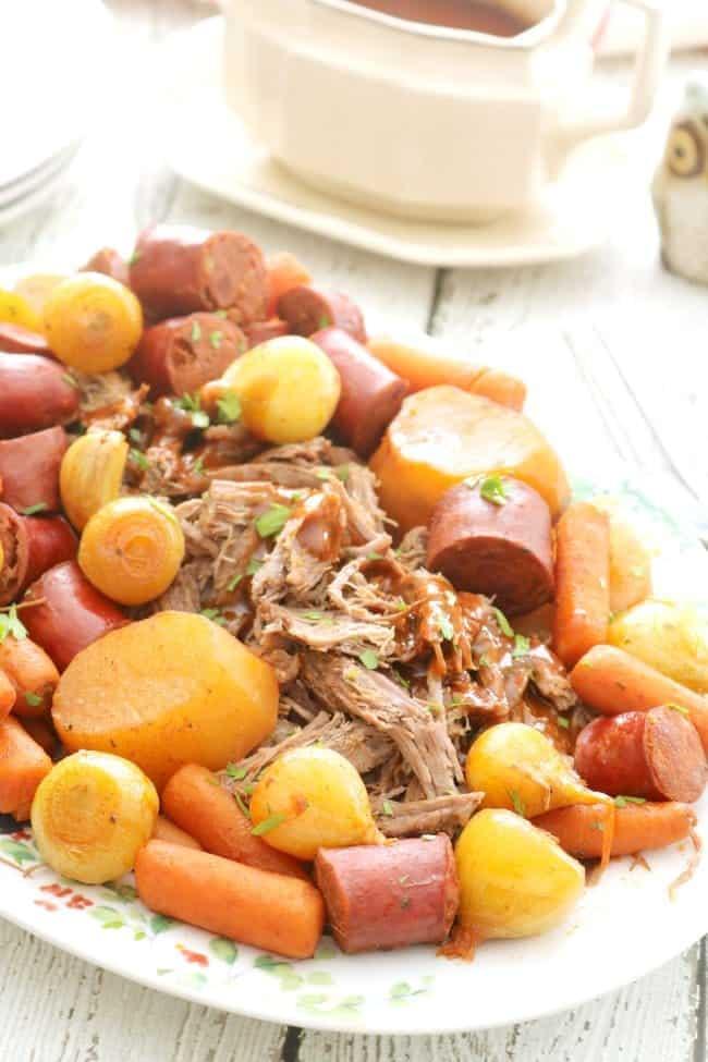 A platter of Crock Pot Portuguese Pot Roast