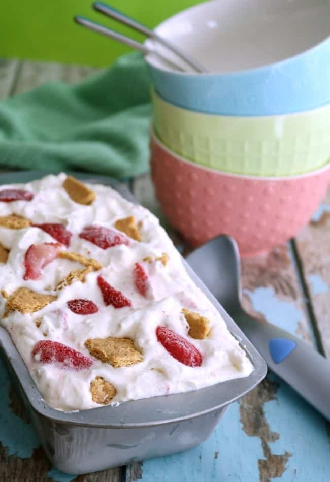 This No-Churn Strawberry Cheesecake Ice Cream is creamy, sweet, easy to make, & delicious. With only 6 ingredients, it's the perfect treat.