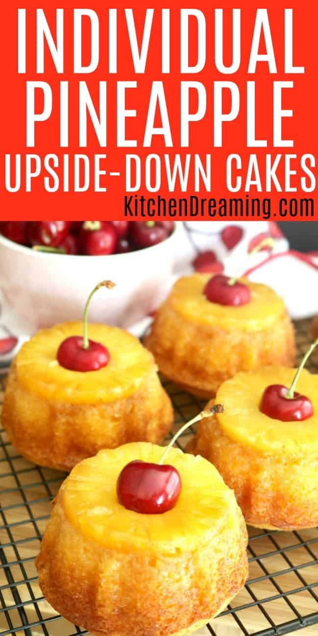 A pinterest Pinnable image of Individual Pineapple Upside-down cake.