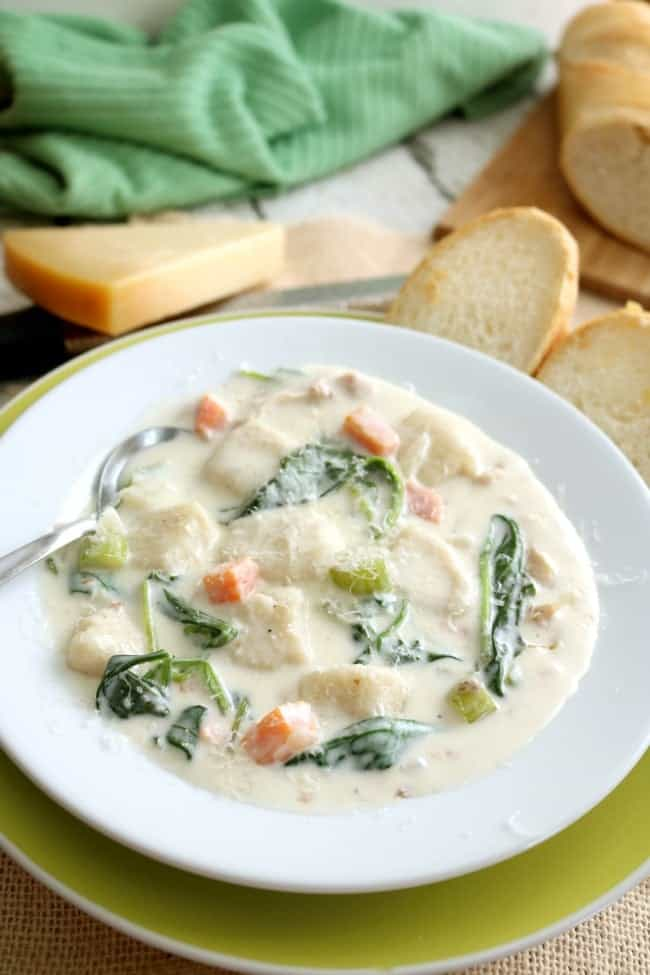 CREAMY CHICKEN AND GNOCCHI SOUP in a bowl ready for serving