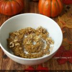 a bowl of overnight pumpkin pie oatmeal
