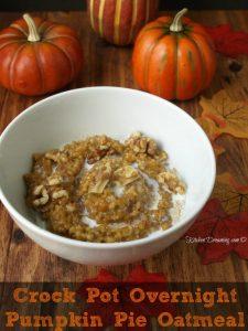 a bowl of overnight pumpkin pie oatmeal