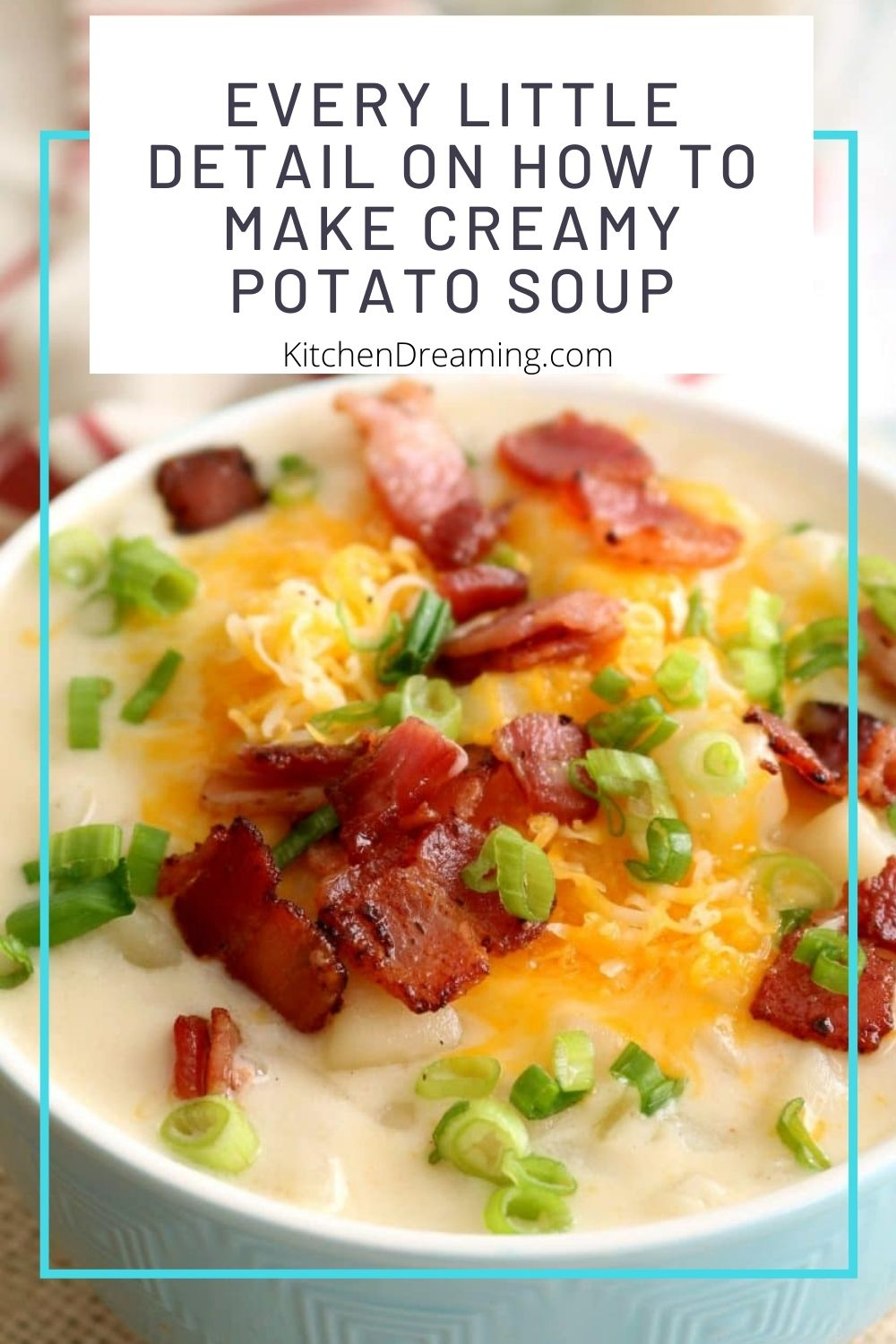 A pinnable image of a bowl of loaded baked potato soup topped with bacon, shredded cheddar cheese, and green onions as garnish.