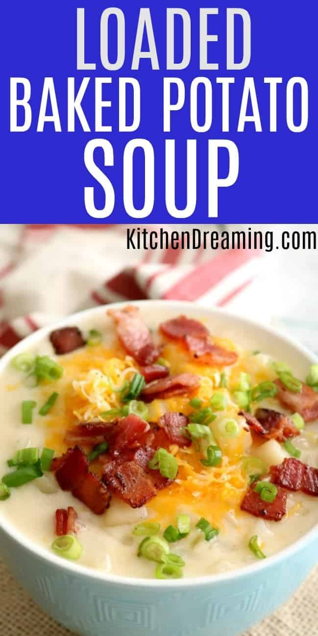 a close-up photo of a bowl of loaded baked potato soup