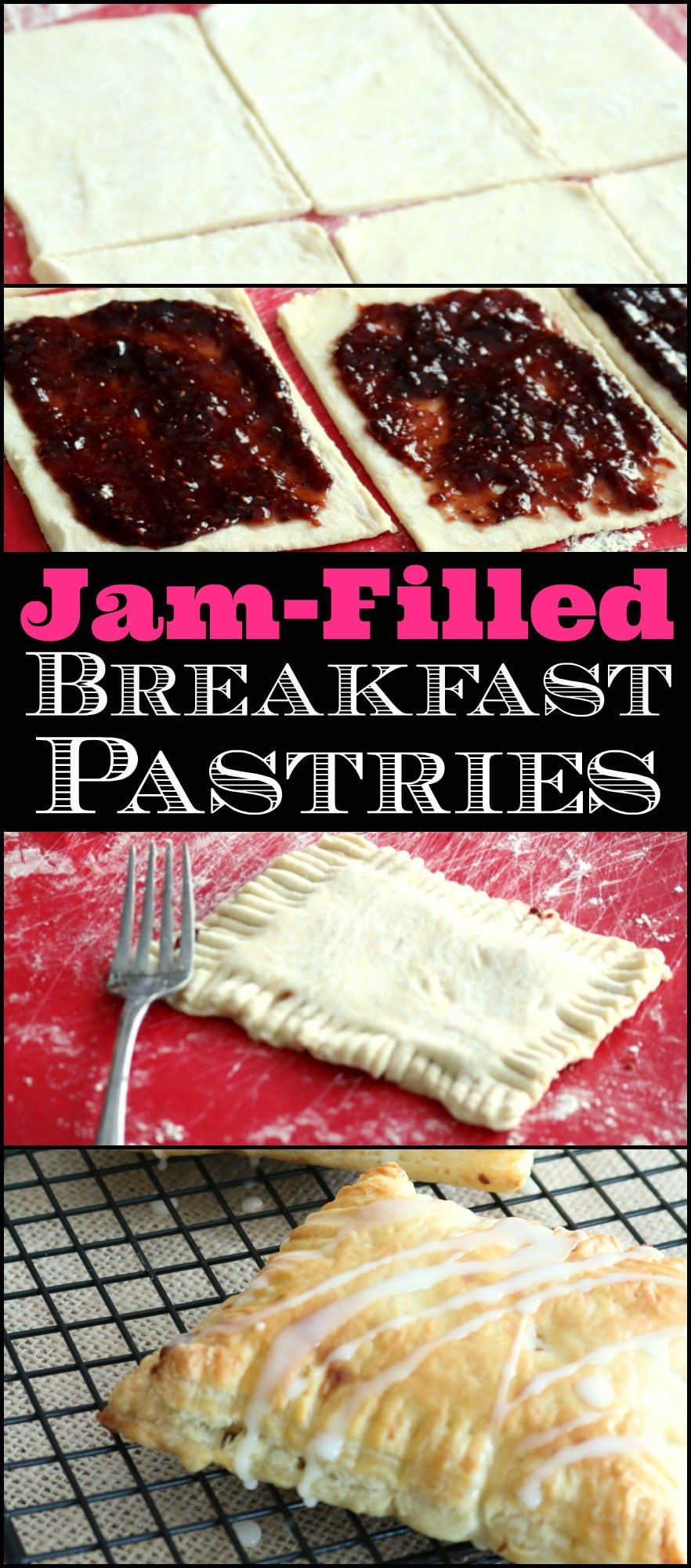 Similar to the Toaster Strudels you can buy in the frozen food section of your grocery store, these Breakfast Pastries taste nothing like what you get from the boxed variety. Ready in just 10-15 minutes in the oven.