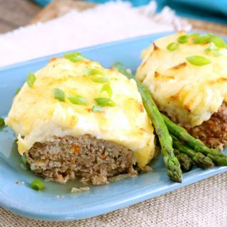 Meatloaf Topped with Cheesy Mashed Potatoes