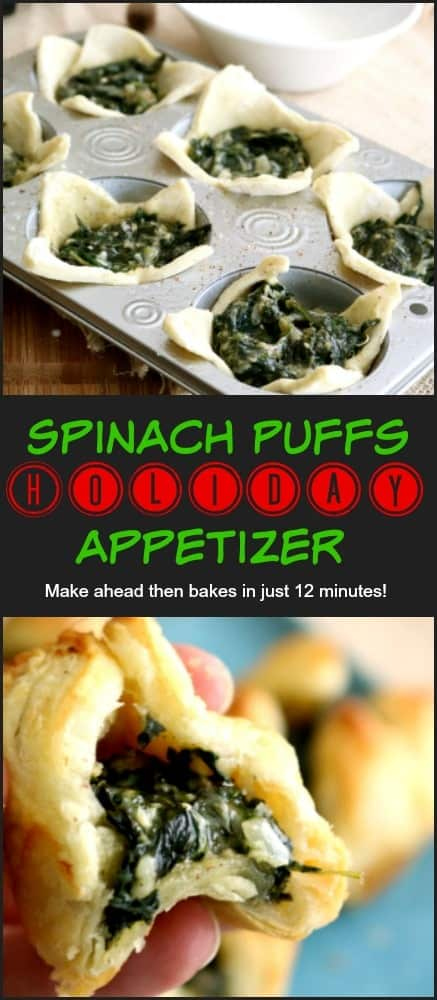 A pinnable Pinterest image of Spinach Puffs