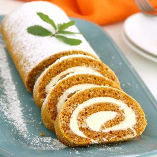 Pumpkin Roll Cake with Buttercream Filling