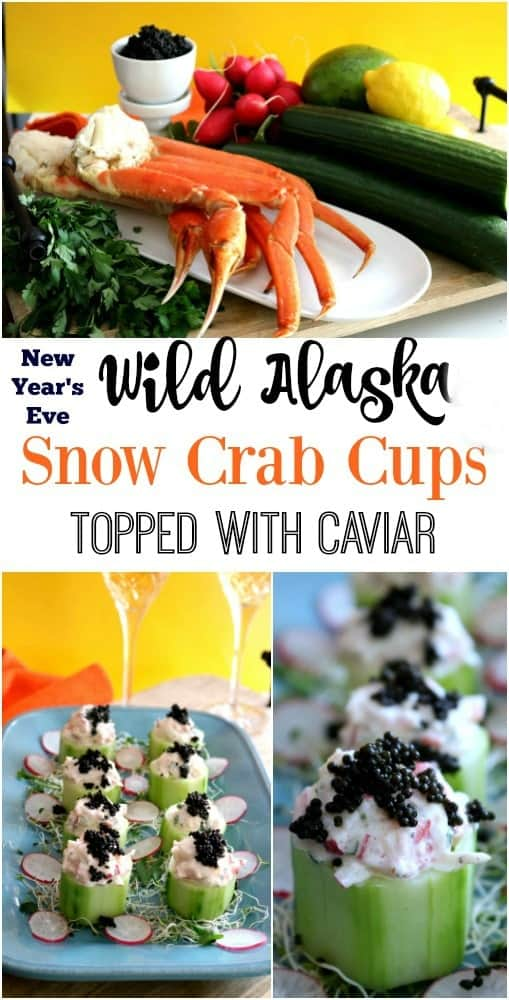 Wild Alaska Snow crab salad is nestled into a refreshing cucumber cup and then topped with a dollop of caviar. The caviar tastes briny like the ocean which blends well into the bright flavors of the crab salad #AskForAlaska #IC #ad