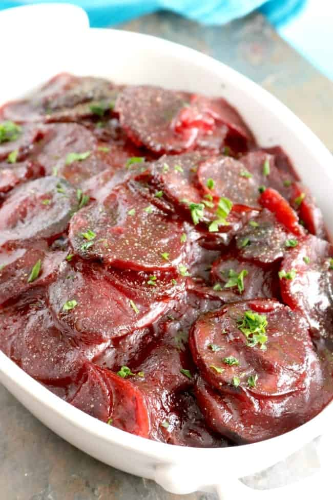 Easy Roasted Harvard Beets are a family favorite passed down from my Grandmother. They are the perfect blend of sweet and sour.