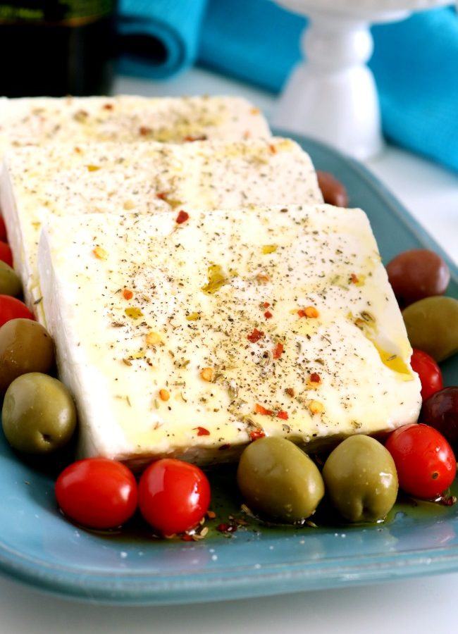 Greek-Style Marinated Feta Cheese with Herbs and Oil