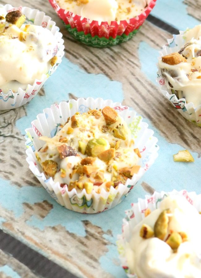 White Chocolate Pistachio Clusters