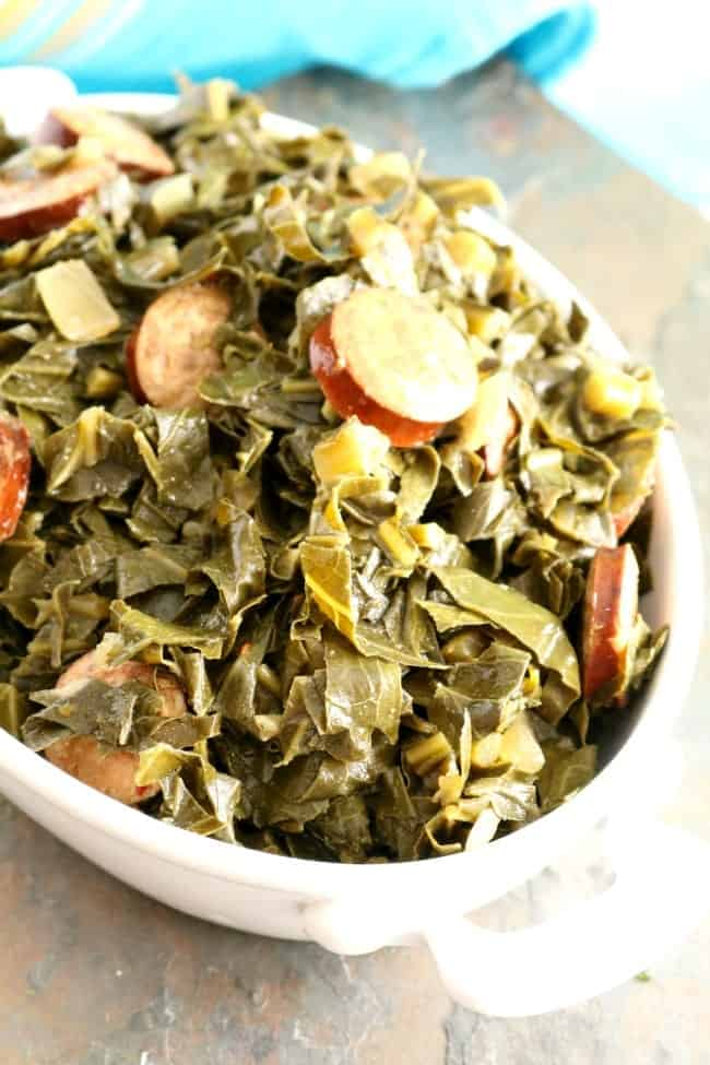 Braised Collards are very nutritious and are high in vitamins K, A, and C, as well as calcium, iron and fiber and have been linked to lowering your cholesterol!