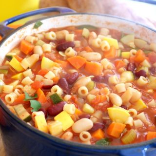 Italian minestrone soup with pasta and beans is hearty and delicious. So much so that my husband didn't miss the meat at all in this soup. If you were so inclined, you could add some browned ground beef or tofu crumbles and have a delicious beef vegetable soup. This soup is bursting with flavor and ready in just 30-minutes!