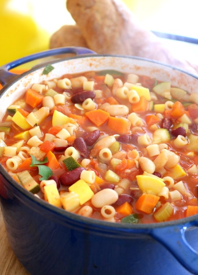 Italian minestrone soup with pasta and beans
