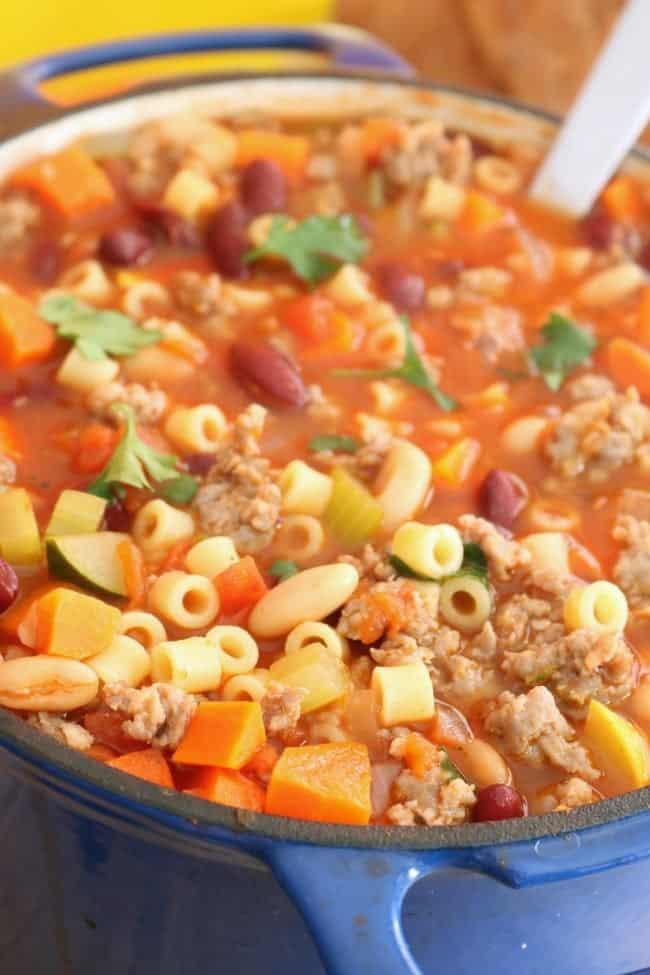 A close-up of pasta e fagioli soup