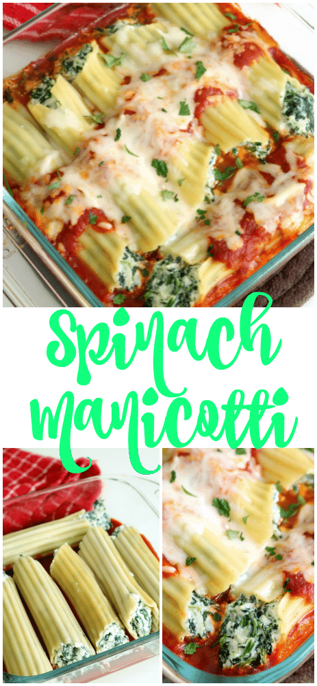 A pinterest pinnable image for Spinach-Zucchini Stuffed Manicotti.