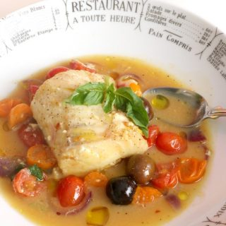 Poached Cod with Tomatoes and Saffron