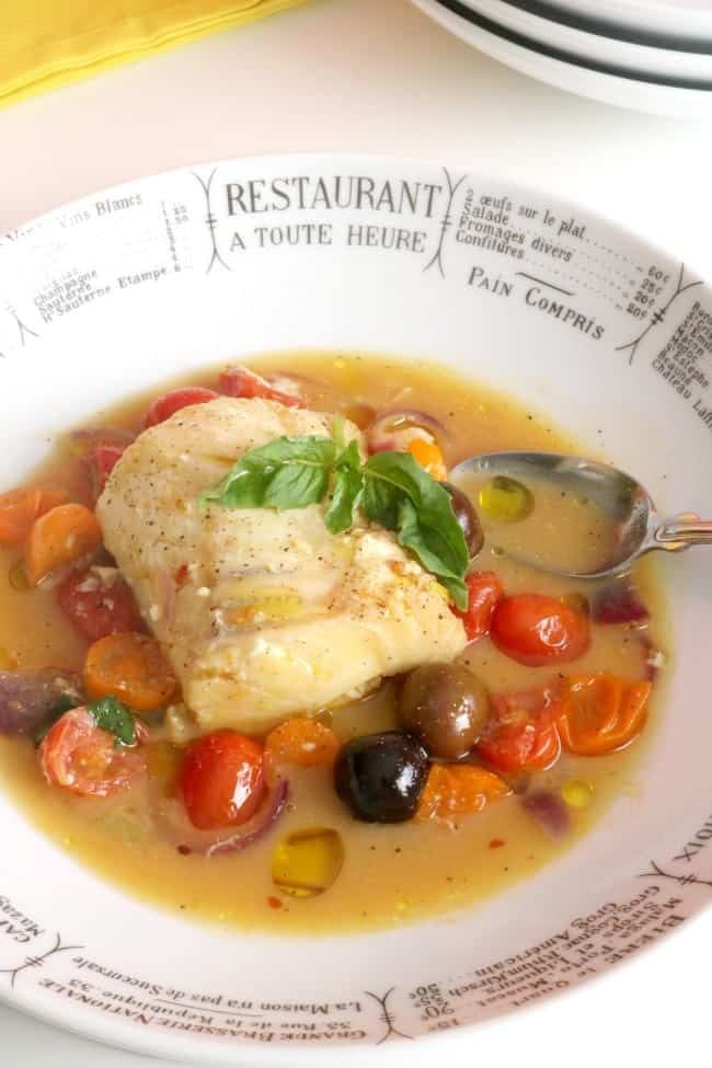 "My favorite fish varieties are grouper, haddock, salmon, trout, and cod. All of these fish are very versatile and are easily adaptable for many recipes like this Poached Cod with Tomatoes and Saffron because the mild fish flavor is still able to shine through the delicious broth. Typically we serve this dish with steamed rice to soak up all that fabulous broth - if you're watching your carbs, cauliflower ""rice"" makes a great alternative, too."