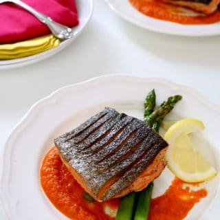 "Arctic Char has a flavor similar to salmon and rainbow trout and is said to be sustainably farmed making it an ""Earth-friendly"" alternative to salmon. Arctic Char has a flavor and texture very similar to salmon - so this fish can be substituted anywhere you might otherwise use salmon and vice versa. I prepared ours over pan roasted asparagus and a sweet and sour red bell pepper sauce. The fish was amazing."