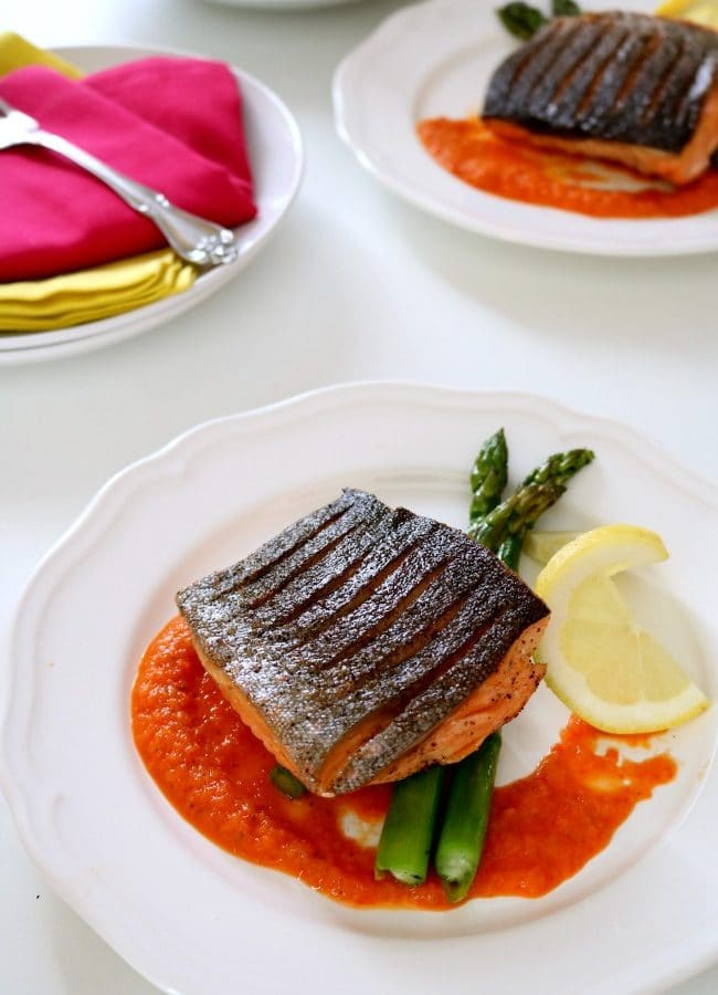 Pan Seared Arctic Char with Sweet & Sour Pepper Sauce