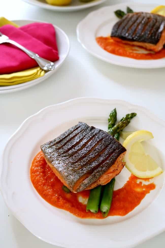 """Arctic Char has a flavor similar to salmon and rainbow trout and is said to be sustainably farmed making it an """"Earth-friendly"""" alternative to salmon. Arctic Char has a flavor and texture very similar to salmon - so this fish can be substituted anywhere you might otherwise use salmon and vice versa. I prepared ours over pan roasted asparagus and a sweet and sour red bell pepper sauce. The fish was amazing."""