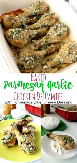 Bring the flavors of the pizzeria home with these easy to make Baked Parmesan Garlic Chicken Drumsticks! Together with the homemade blue cheese dressing, my family thinks these are the bomb!