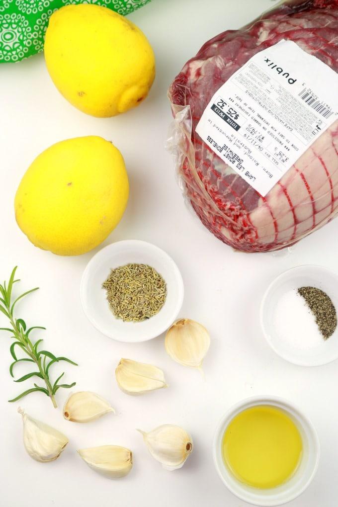 The ingredients needed in Rotisserie Greek Rosemary-Garlic Leg of Lamb