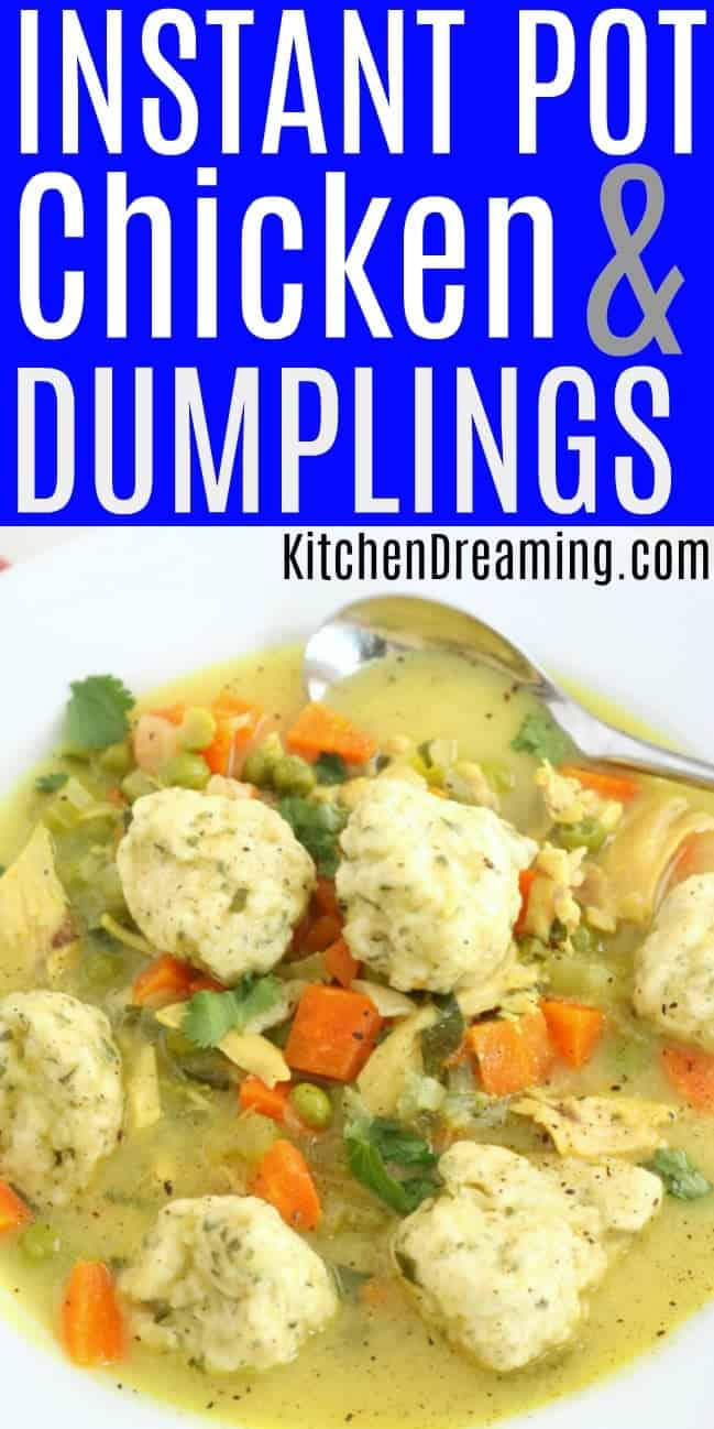 a bowl of Instant Pot Chicken and dumplings ready to serve in a white bowl with a silver spoon.