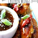 Asian sweet and sour sauce with a little bit of a spicy kick slathered on crispy baked wings, General Tso Chicken Wings are on the menu tonight!