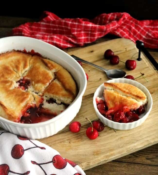 Magic Crust Cherry Cobbler is easy to make and assembles in under 5 minutes plus baking time. Great for potlucks and family gatherings - or anytime.