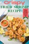 A Pinterest pin image of golden Crispy Fried Shrimp.