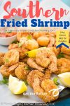 A Pinterest pin image of golden Southern Fried Shrimp.