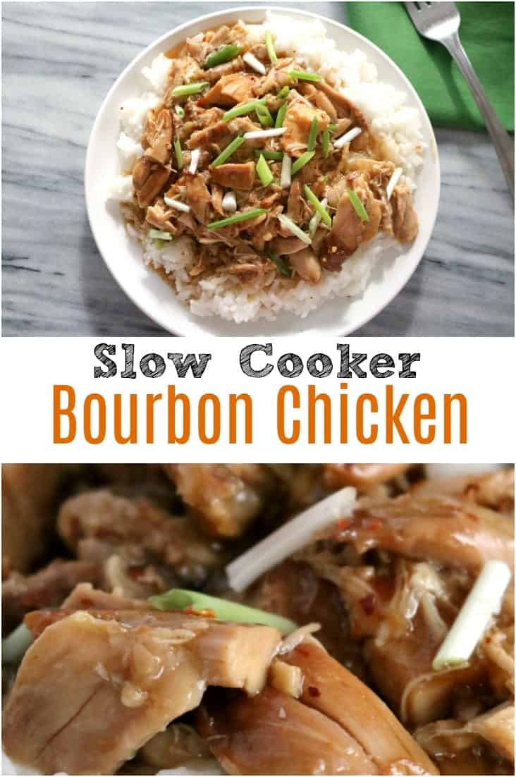 Slow Cooker Bourbon Chicken is an easy and tasty weeknight or busy weekend meal. The rich bourbon ginger sauce is sweet and tangy. This meal is perfect served over rice with a side of steamed broccoli.
