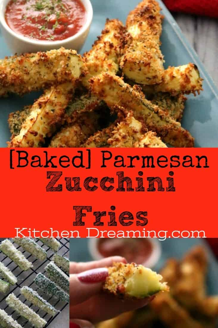 Baked Parmesan Zucchini Fries are a great no-fuss way to get kids(and adults) to eat their vegetables. Crisp on the outside and creamy on the inside with a nice bit of saltiness from the Parmesan cheese these fries are your new favorite way to eat zucchini. Served with a marinara, these make a great kid friendly and figure-friendly appetizer or side dish.
