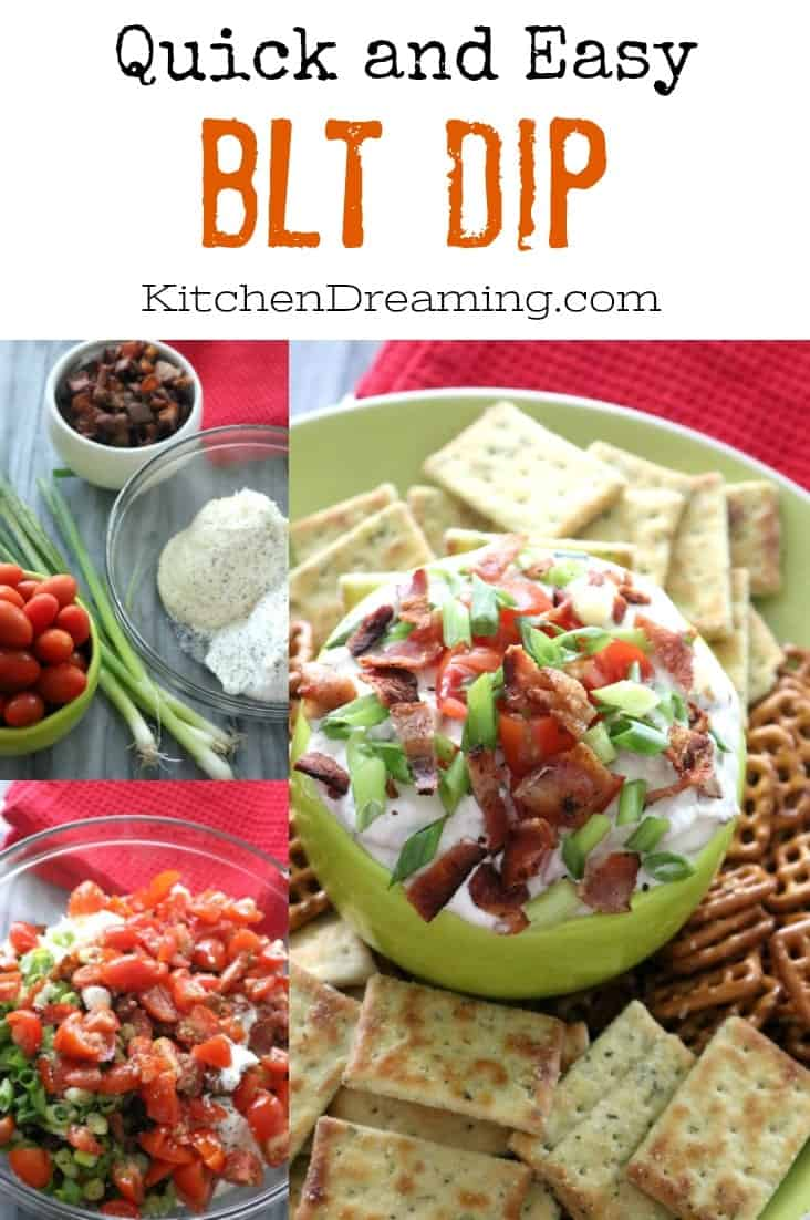 This BLT DIP is a widely popular party dip based off the classic sandwich. This easy-to-make recipe is ready in as little at 15 minutes. #PartyFood#Gameday #Appetizer #EasyRecipe