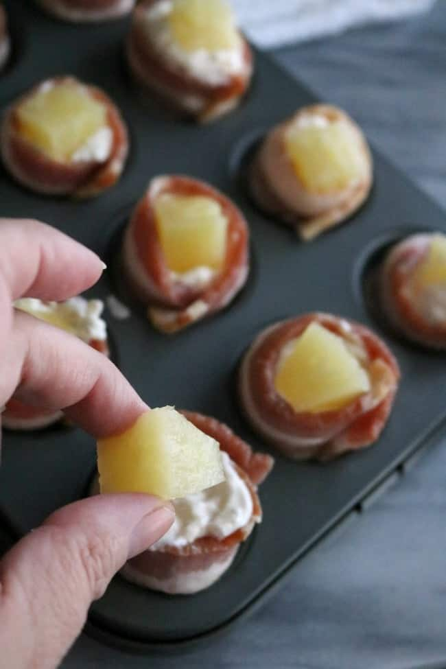 These Bacon-Wrapped Pineapple Chicken Shots are divine. The saltiness of the bacon combined with the sweetness of the pineapple and the smokiness from the BBQ coated chicken creates such a flavorful little bite.